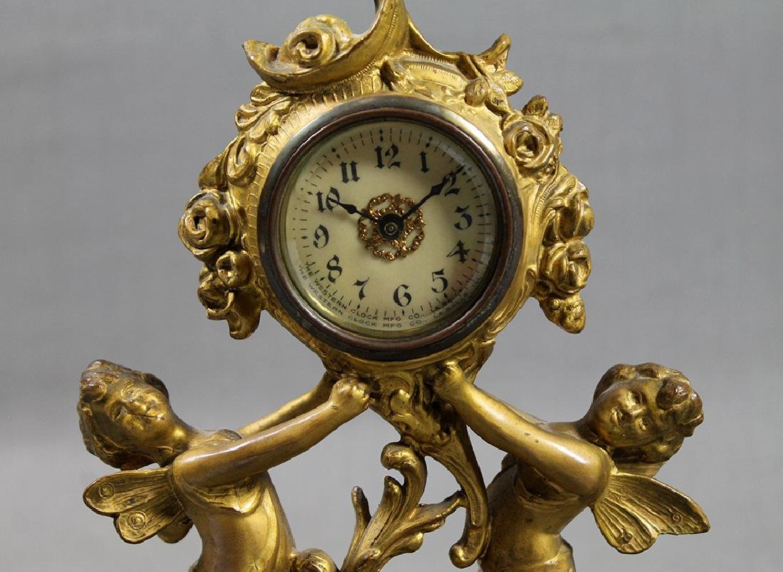 "9"" French Gilt Metal Table Clock in Classical and Art - 2"