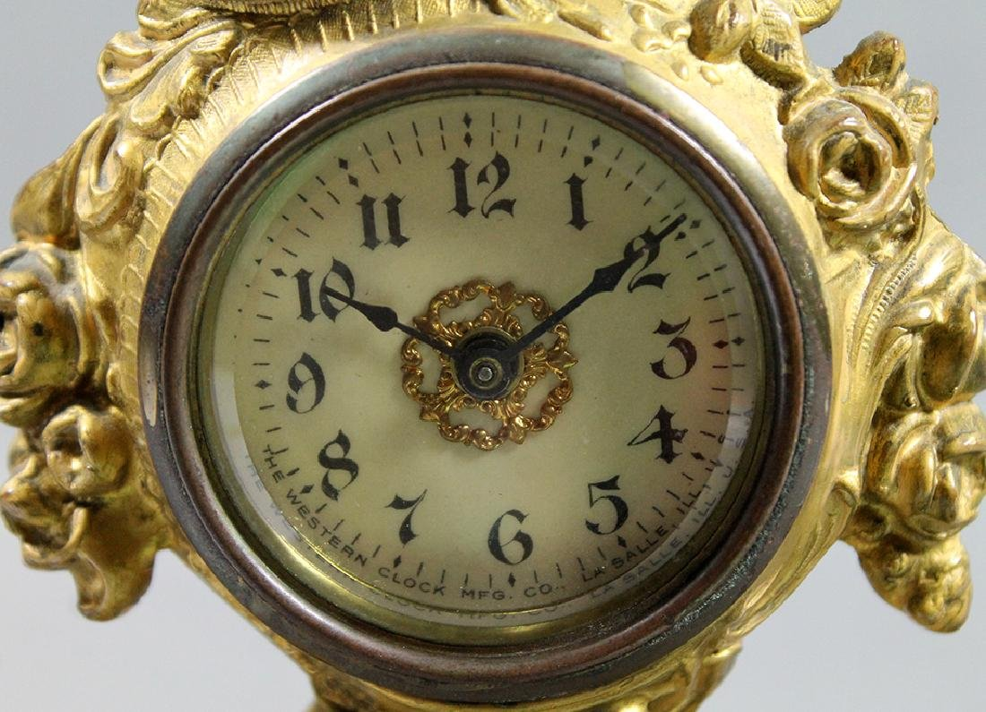 "9"" French Gilt Metal Table Clock in Classical and Art - 4"