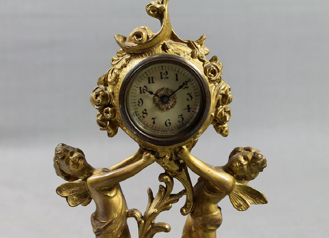 "9"" French Gilt Metal Table Clock in Classical and Art - 5"