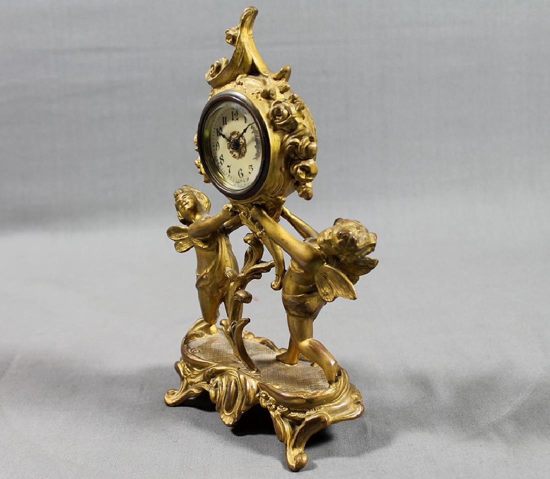 "9"" French Gilt Metal Table Clock in Classical and Art - 6"
