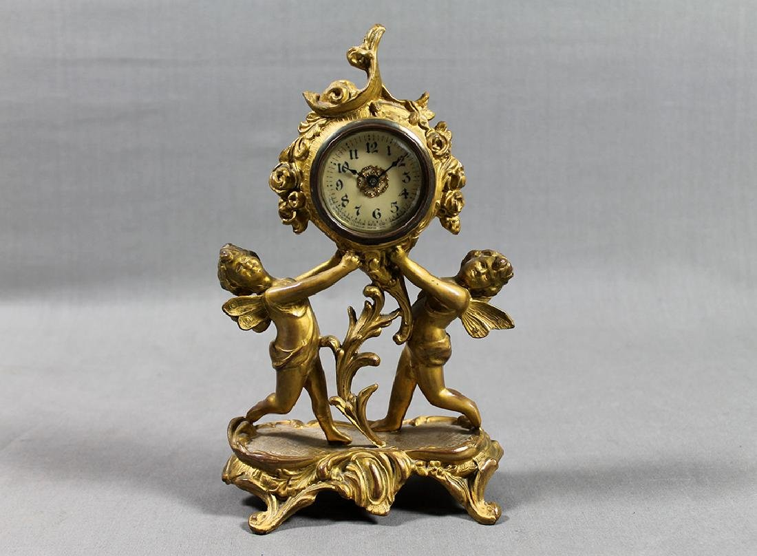 "9"" French Gilt Metal Table Clock in Classical and Art - 7"