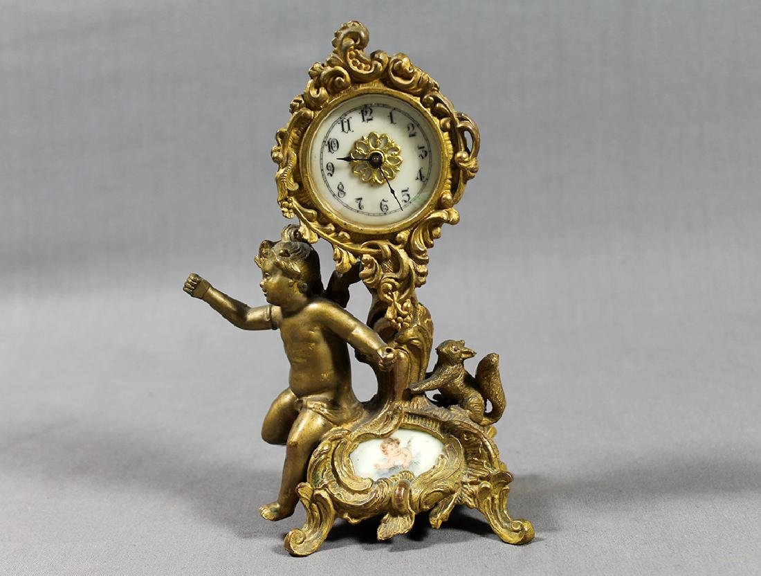 "9.5"" French Gilt Metal Table Clock in Classical and Art"