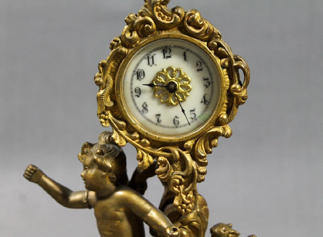 "9.5"" French Gilt Metal Table Clock in Classical and Art - 2"