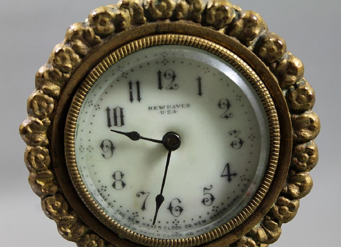 """10"""" French Gilt Metal Table Clock in Classical and Art - 3"""