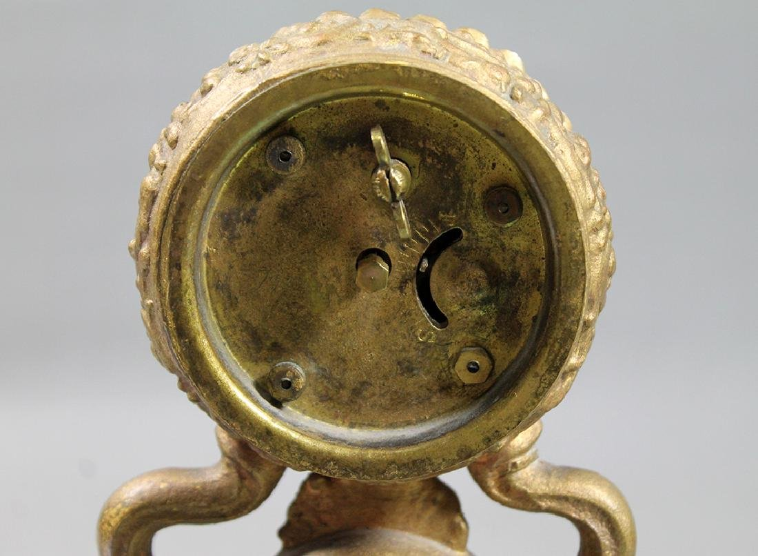 """10"""" French Gilt Metal Table Clock in Classical and Art - 4"""