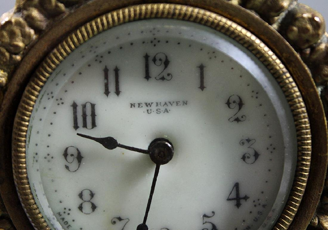 """10"""" French Gilt Metal Table Clock in Classical and Art - 6"""