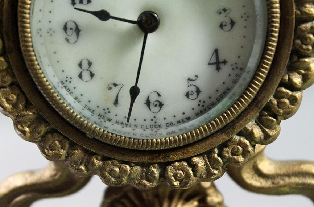 """10"""" French Gilt Metal Table Clock in Classical and Art - 7"""
