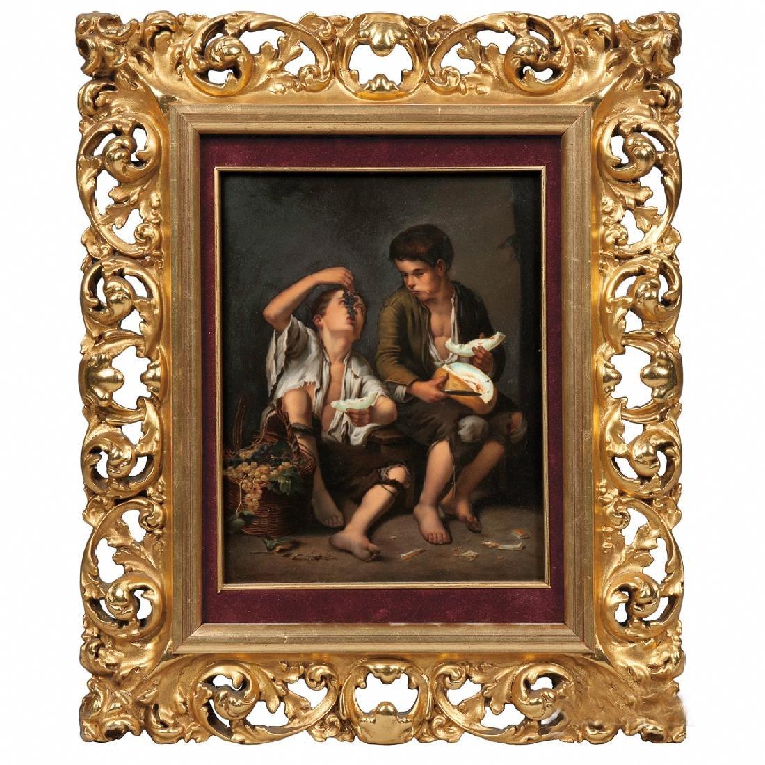 KPM Porcelain Plaque Depicting Boys