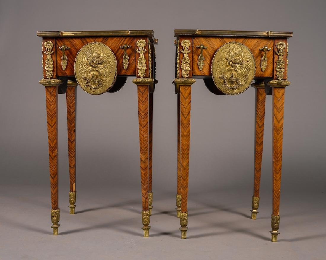 Pair of French Style Bronze Mounted Side Tables