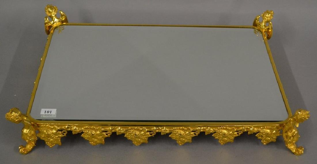 BEVELED MIRROR PLATEAU EMBOSSED GILT METAL VINTAGE