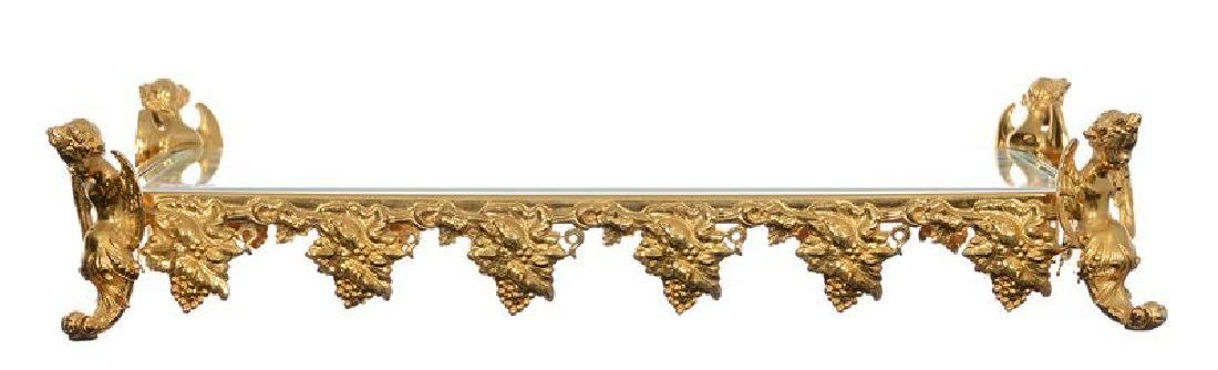 BEVELED MIRROR PLATEAU EMBOSSED GILT METAL VINTAGE - 2