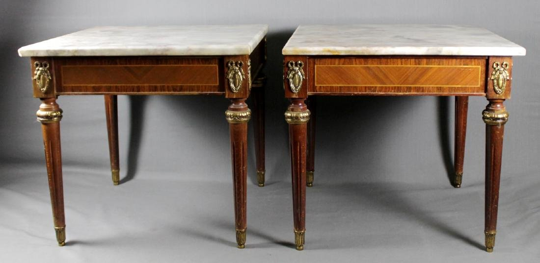 PAIR OF FRENCH STYLE MARBLE TOP LAMP TABLES
