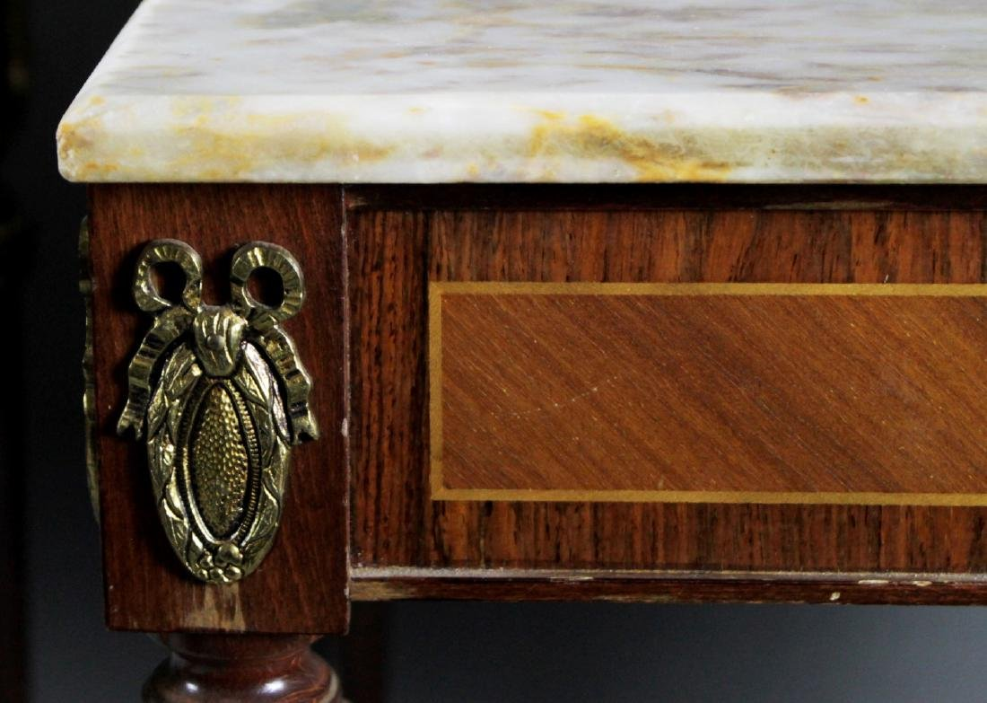 PAIR OF FRENCH STYLE MARBLE TOP LAMP TABLES - 4