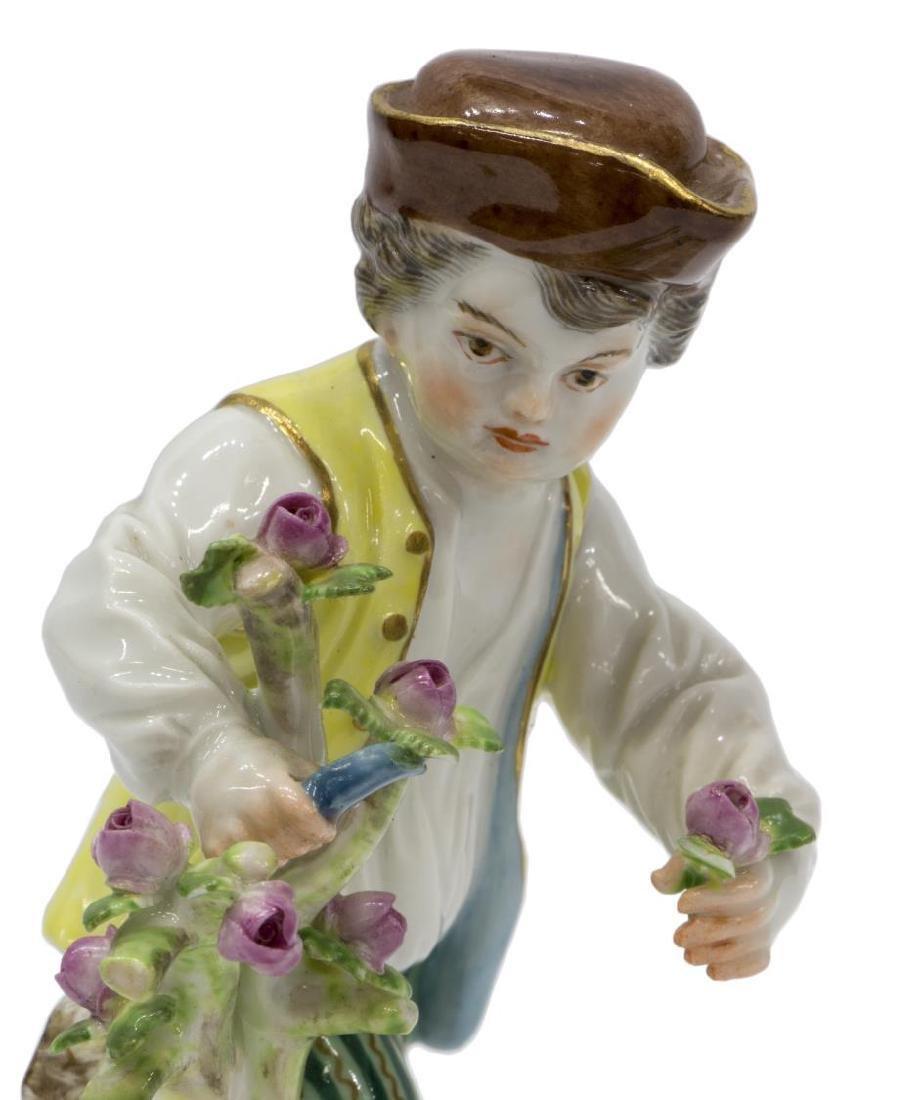 19TH C. MEISSEN PORCELAIN FIGURE BOY CUTTING FLOWERS - 3
