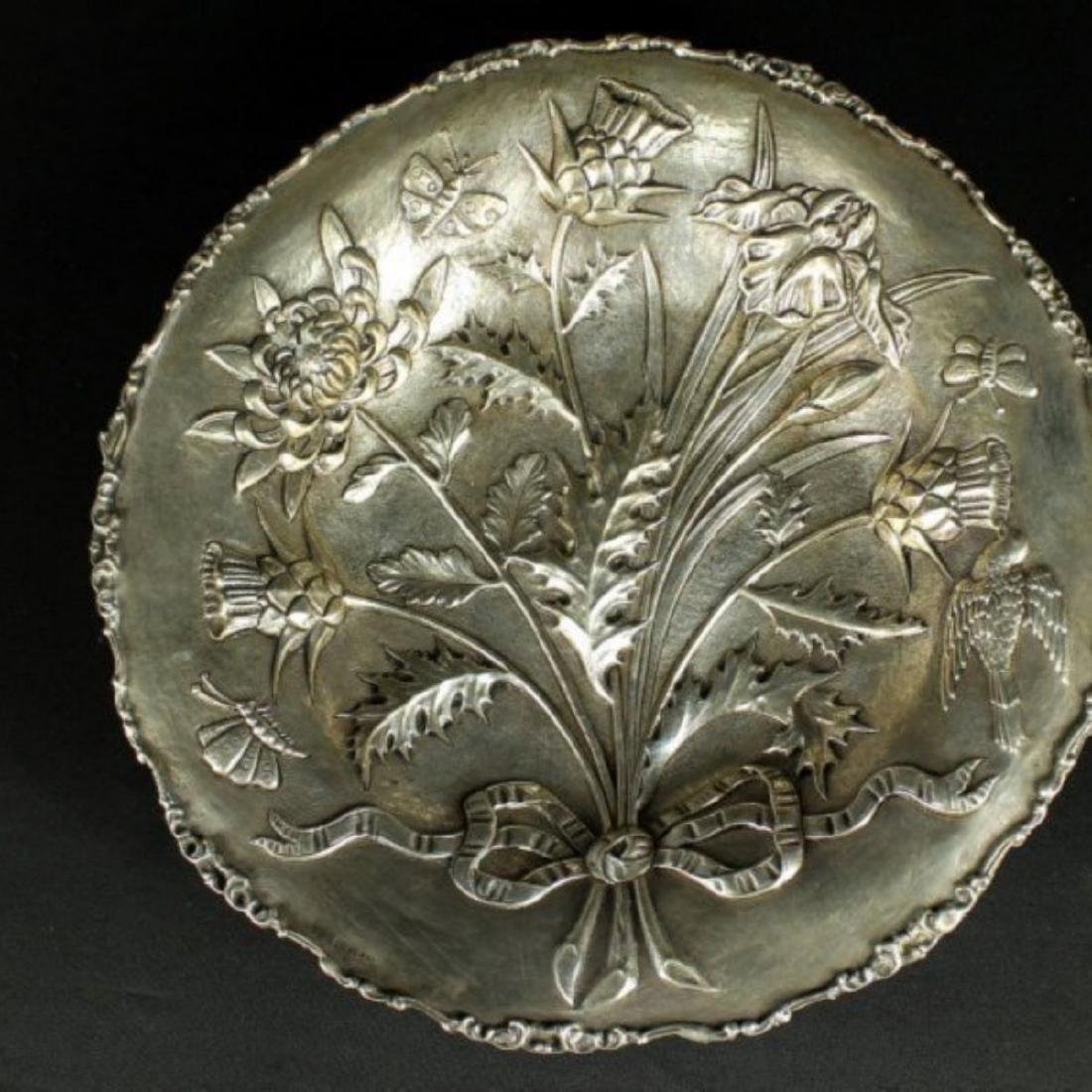 STERLING SILVER TRAY WITH INLAID DESIGNS