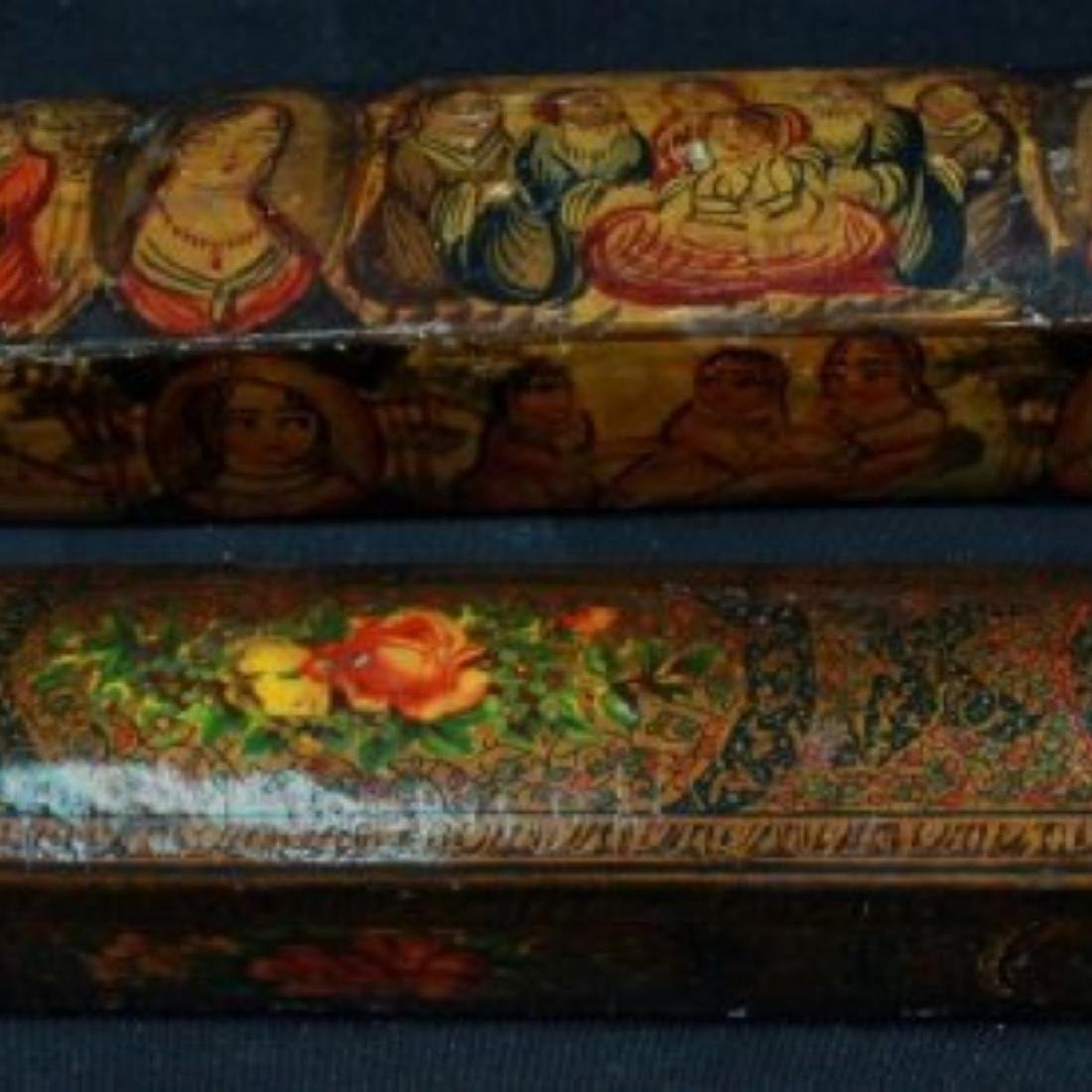 PAIR OF QAJAR PAPER MACHE POLYCHROME PEN CASES