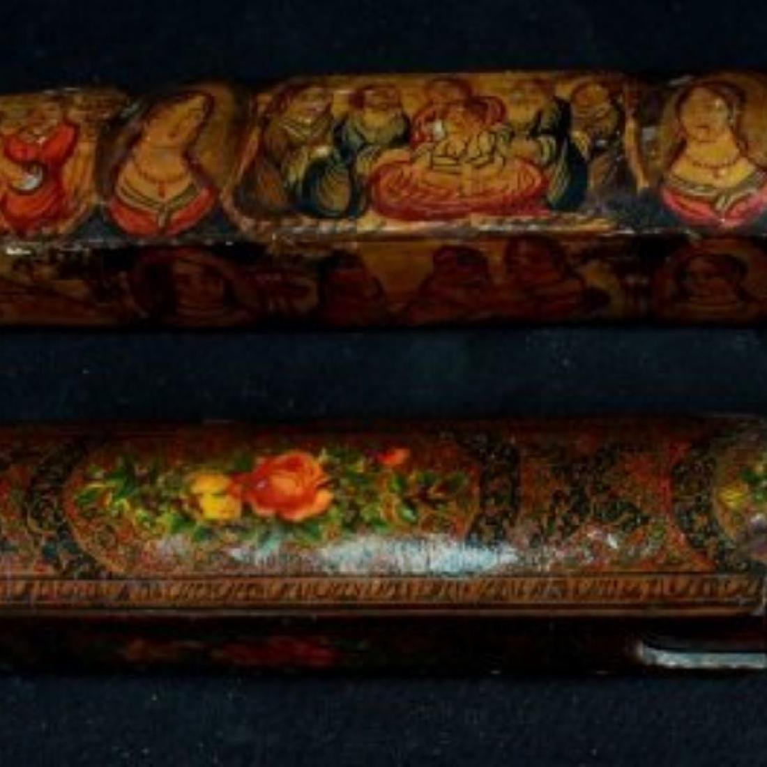 PAIR OF QAJAR PAPER MACHE POLYCHROME PEN CASES - 2