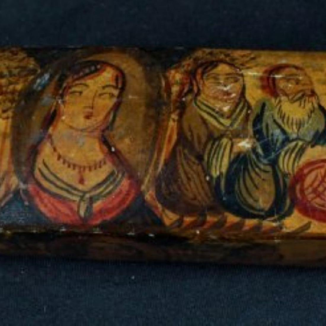 PAIR OF QAJAR PAPER MACHE POLYCHROME PEN CASES - 3