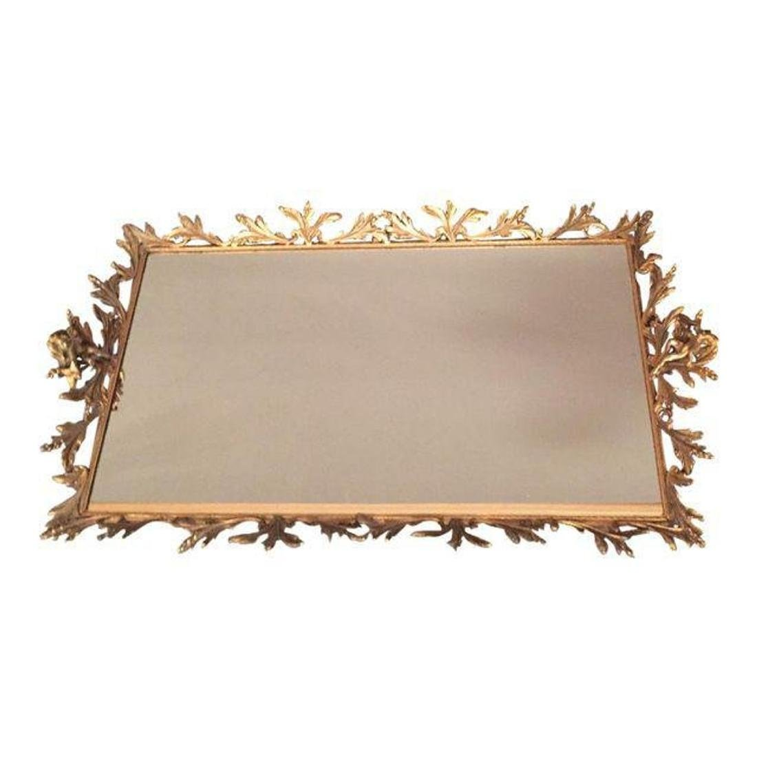 Antique French Mirror Brass Tray