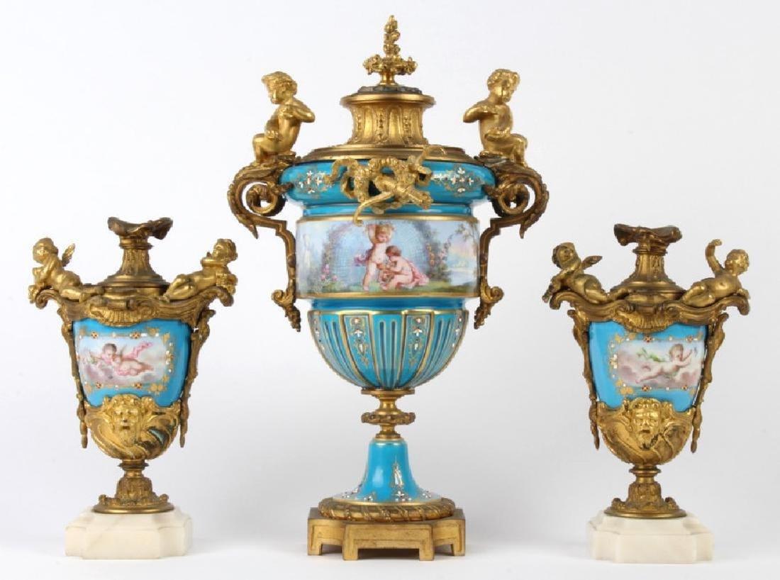 Antique Dore Bronze Mounted Sevres Porcelain Vases