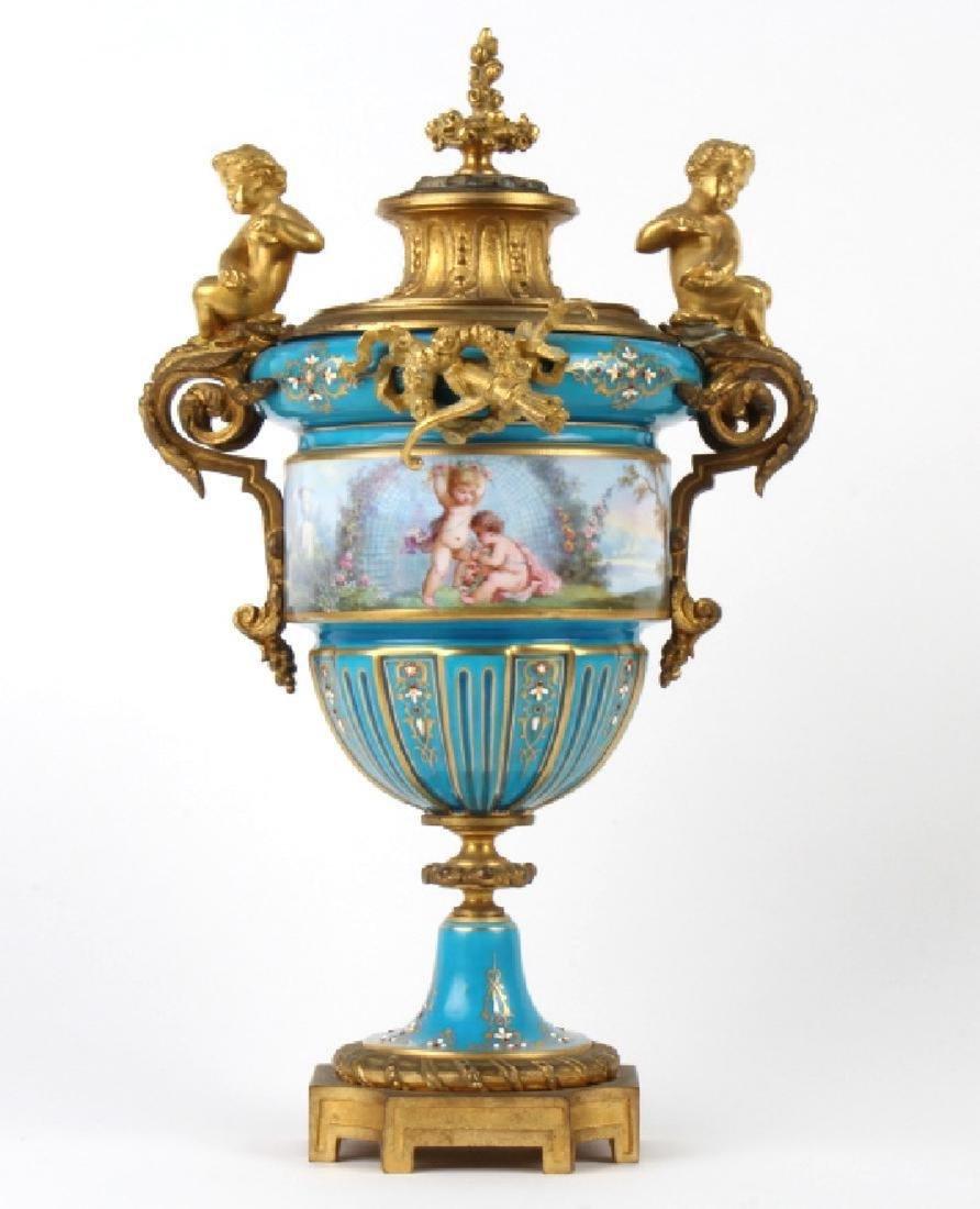 Antique Dore Bronze Mounted Sevres Porcelain Vases - 2