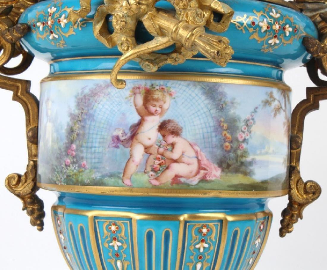 Antique Dore Bronze Mounted Sevres Porcelain Vases - 3