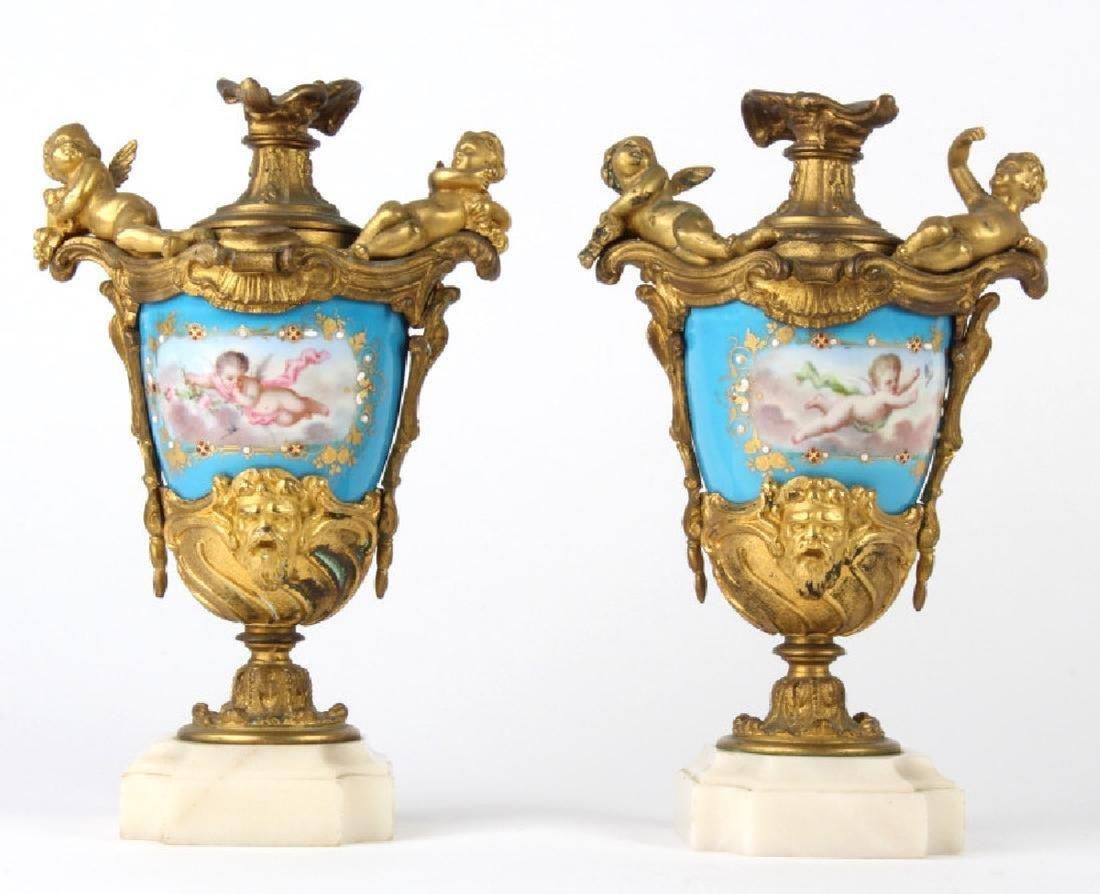 Antique Dore Bronze Mounted Sevres Porcelain Vases - 4