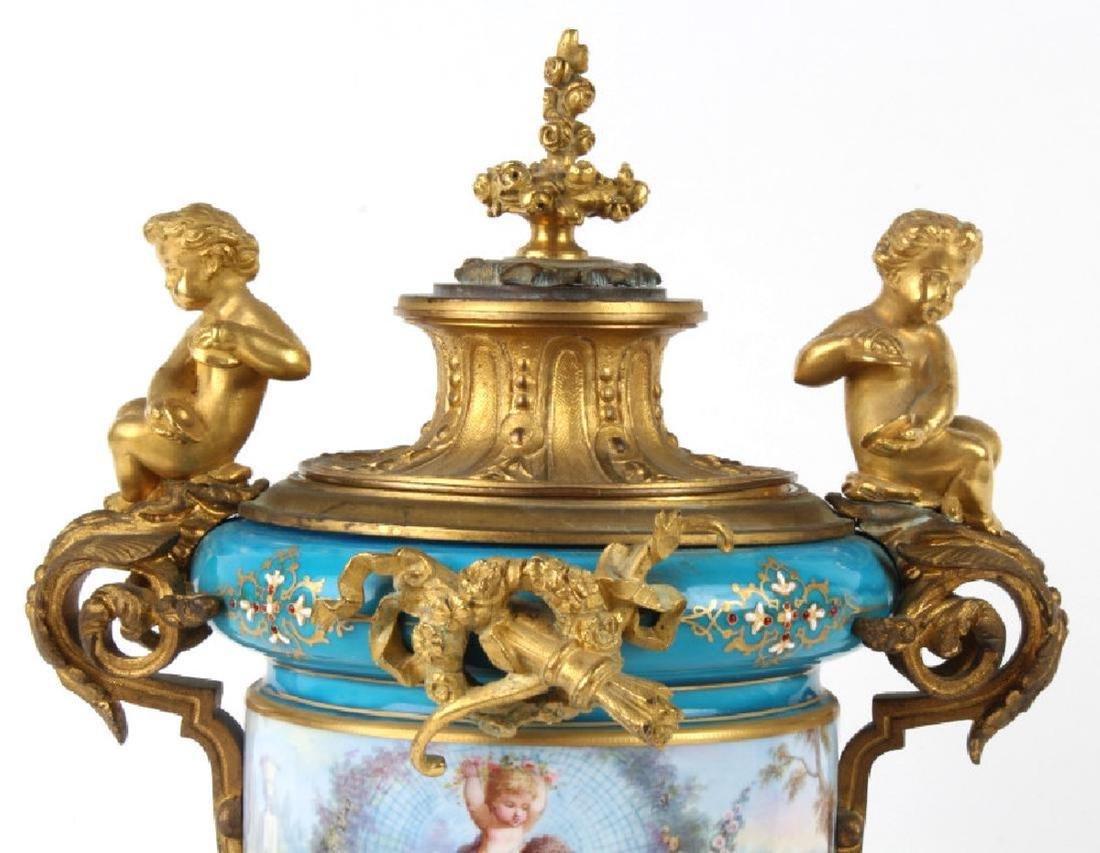 Antique Dore Bronze Mounted Sevres Porcelain Vases - 9