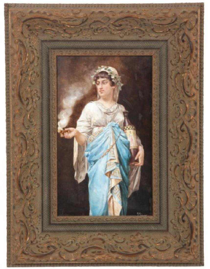 French Porcelain Hand Painted Tile Plaque