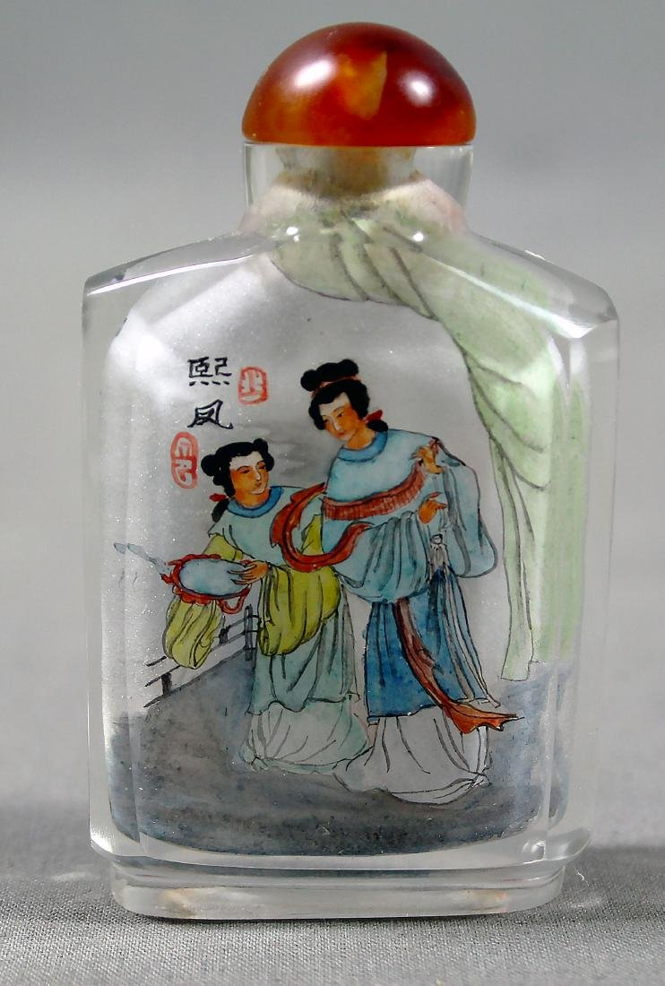 ANTIQUE CHINESE PAINTED SNUFF BOTTLE - 2
