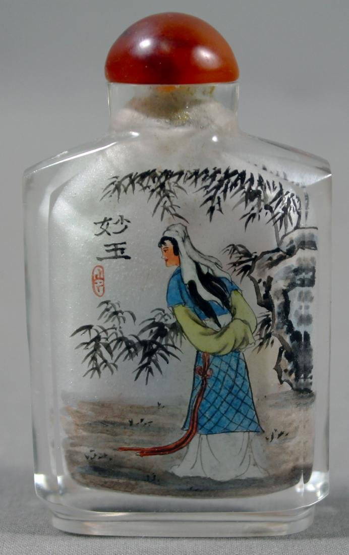 ANTIQUE CHINESE PAINTED SNUFF BOTTLE - 3