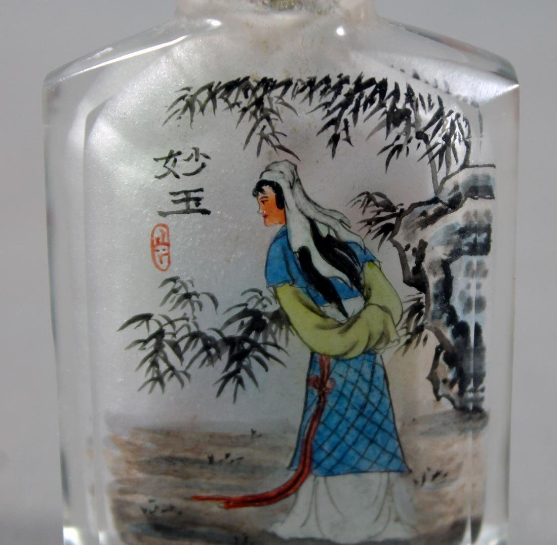 ANTIQUE CHINESE PAINTED SNUFF BOTTLE - 4