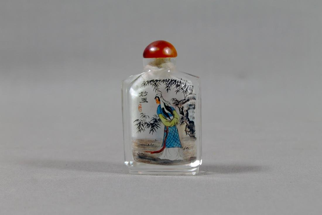 ANTIQUE CHINESE PAINTED SNUFF BOTTLE - 5