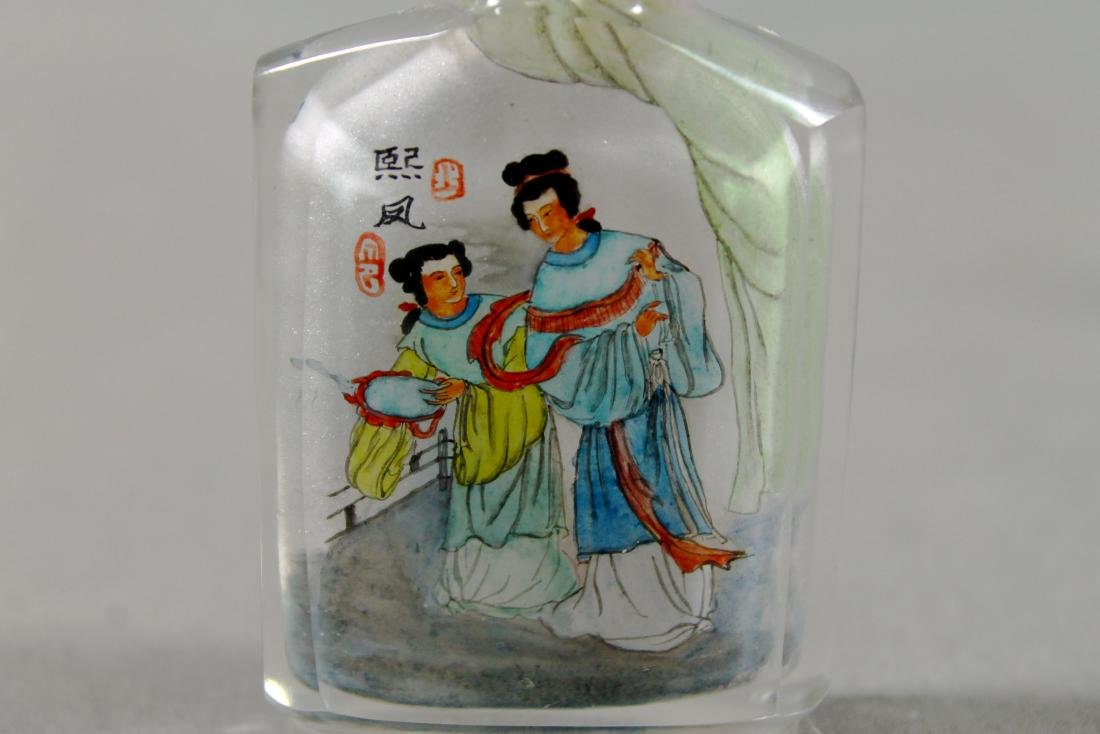 ANTIQUE CHINESE PAINTED SNUFF BOTTLE - 7