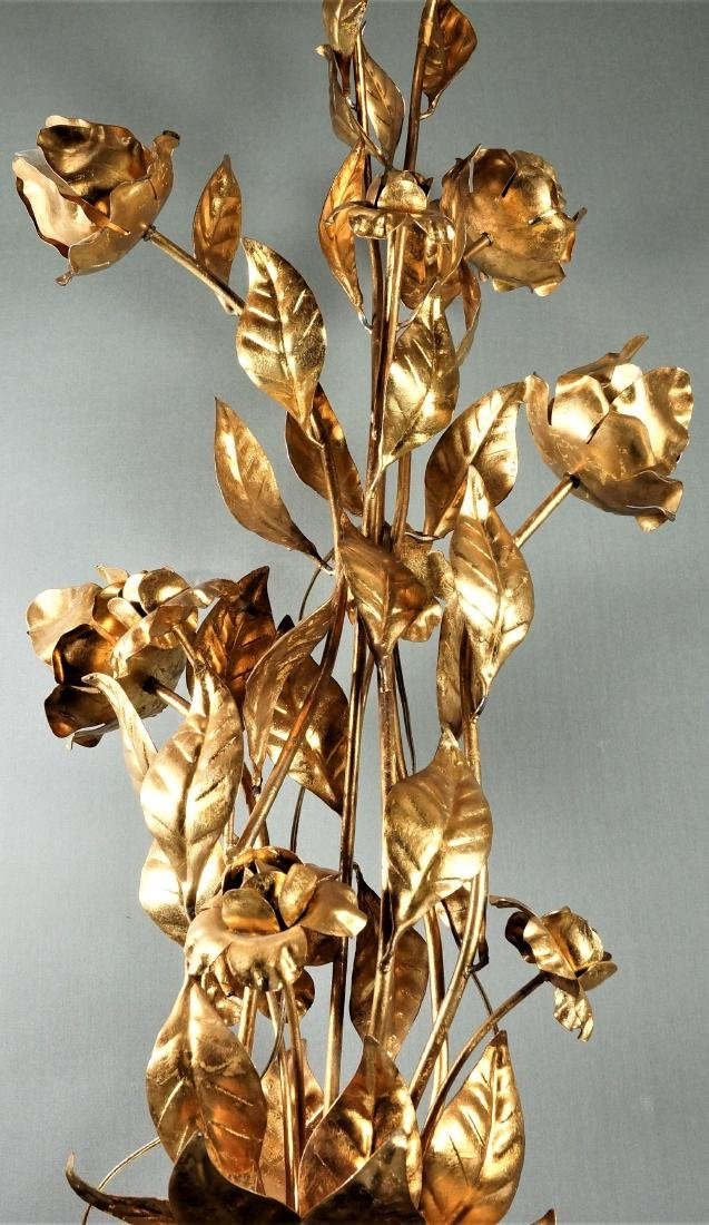 Large Brass Floral Lamp - 3