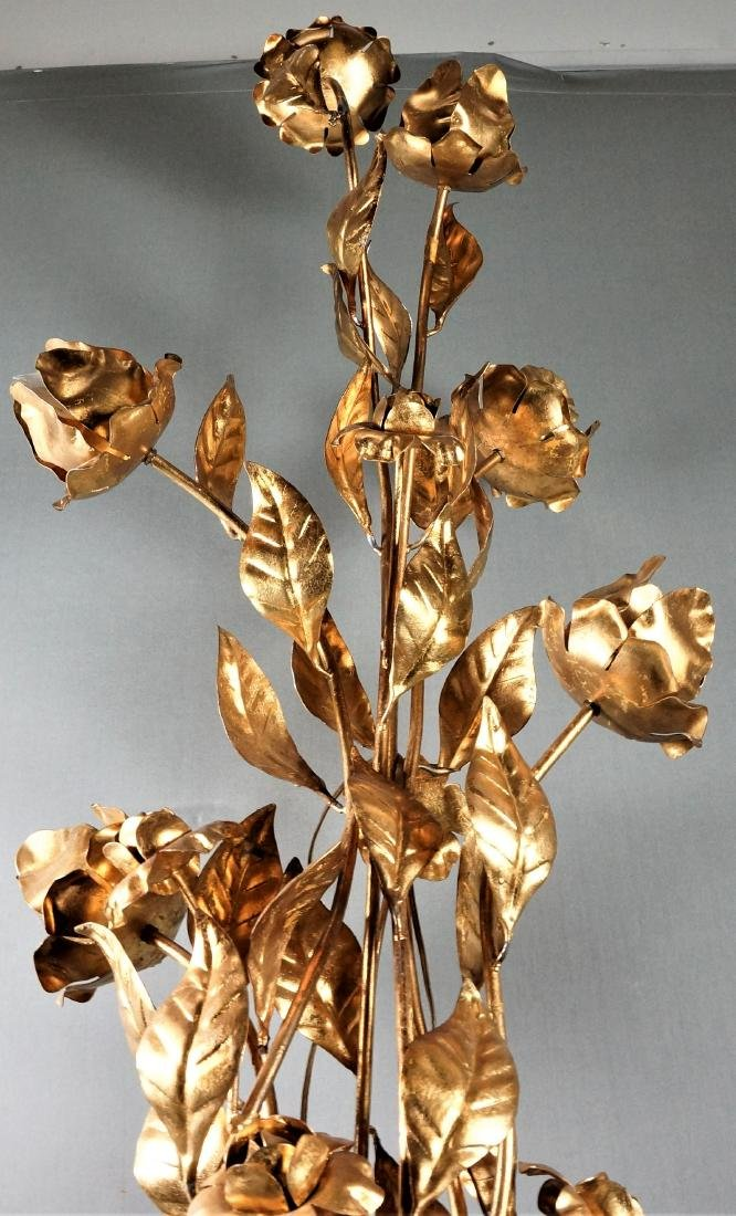 Large Brass Floral Lamp - 4