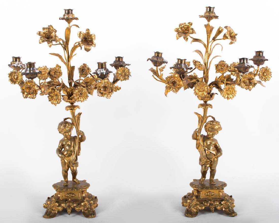 PAIR OF LOUIS XV STYLE GILT BRONZE FIGURAL CANDELABRA