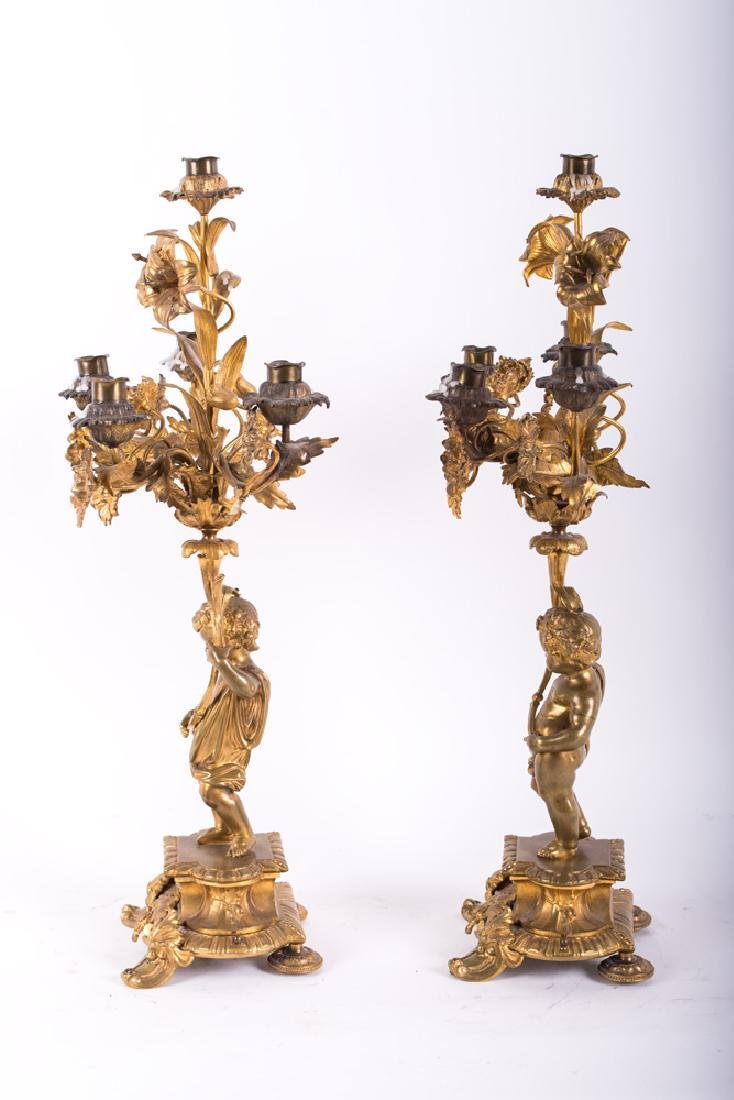 PAIR OF LOUIS XV STYLE GILT BRONZE FIGURAL CANDELABRA - 9