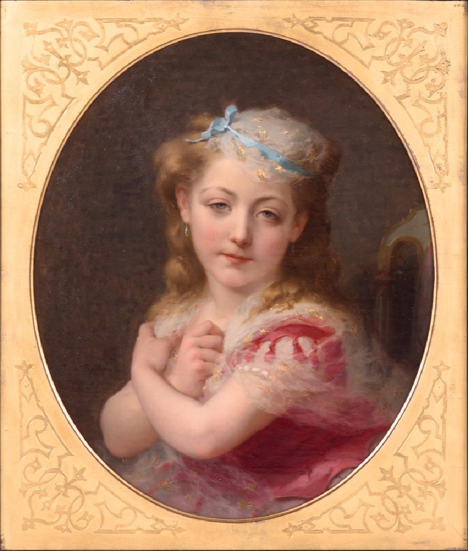 """FREDERIC BRIDGMAN: """"PORTRAIT OF A YOUNG GIRL"""