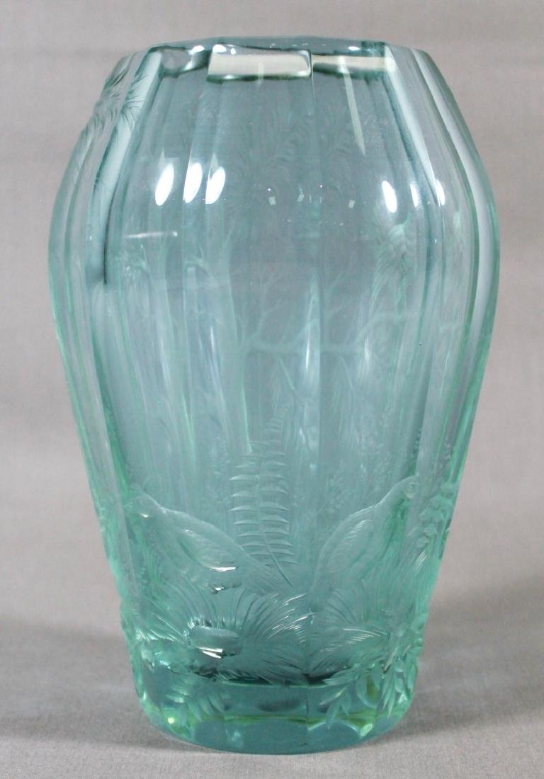 MOSER FACETED AND ENGRAVED GLASS DICHROIC VASE - 3