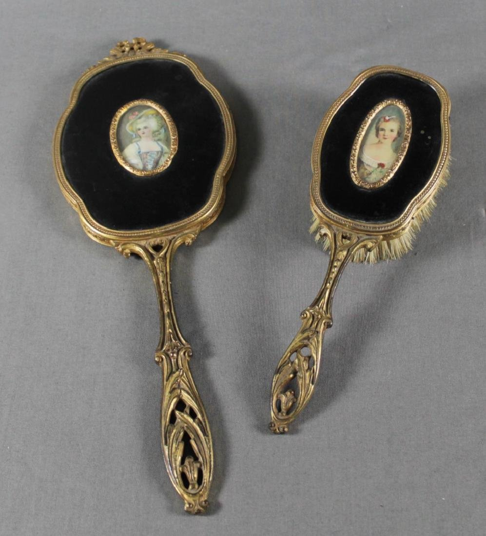 2 PC. FRENCH BRONZE AND ENAMEL MIRROR