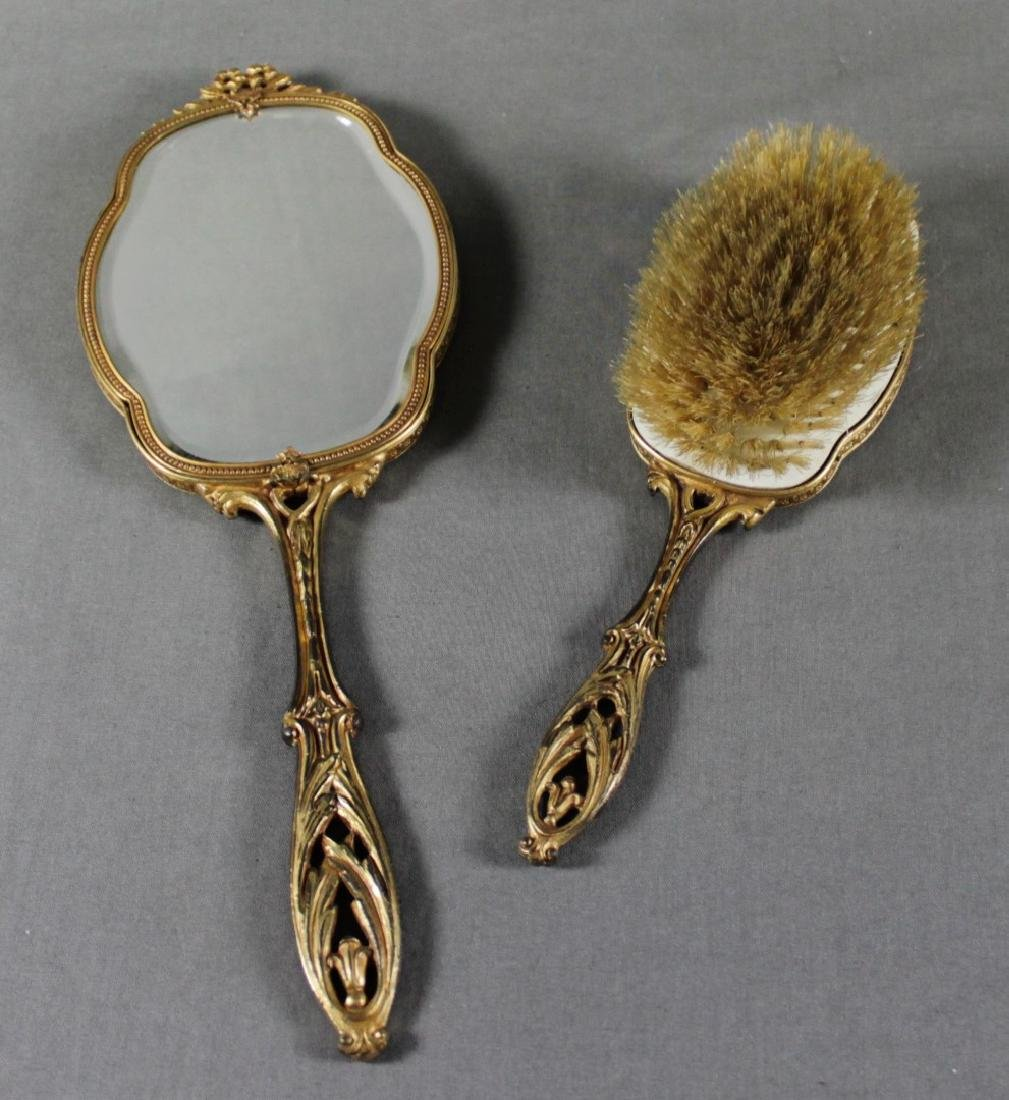 2 PC. FRENCH BRONZE AND ENAMEL MIRROR - 4