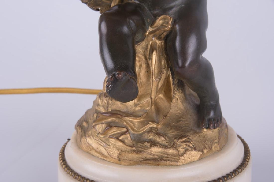 PAIR OF 19TH C. FRENCH BRONZE & MARBLE FIGURAL - 5