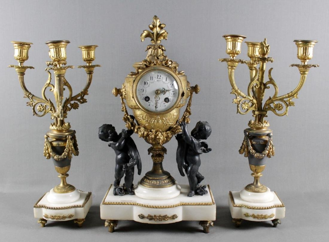 3 PC. FRENCH GILT METAL AND MARBLE  CLOCKSET