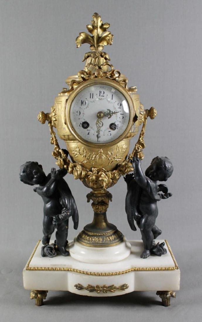 3 PC. FRENCH GILT METAL AND MARBLE  CLOCKSET - 2