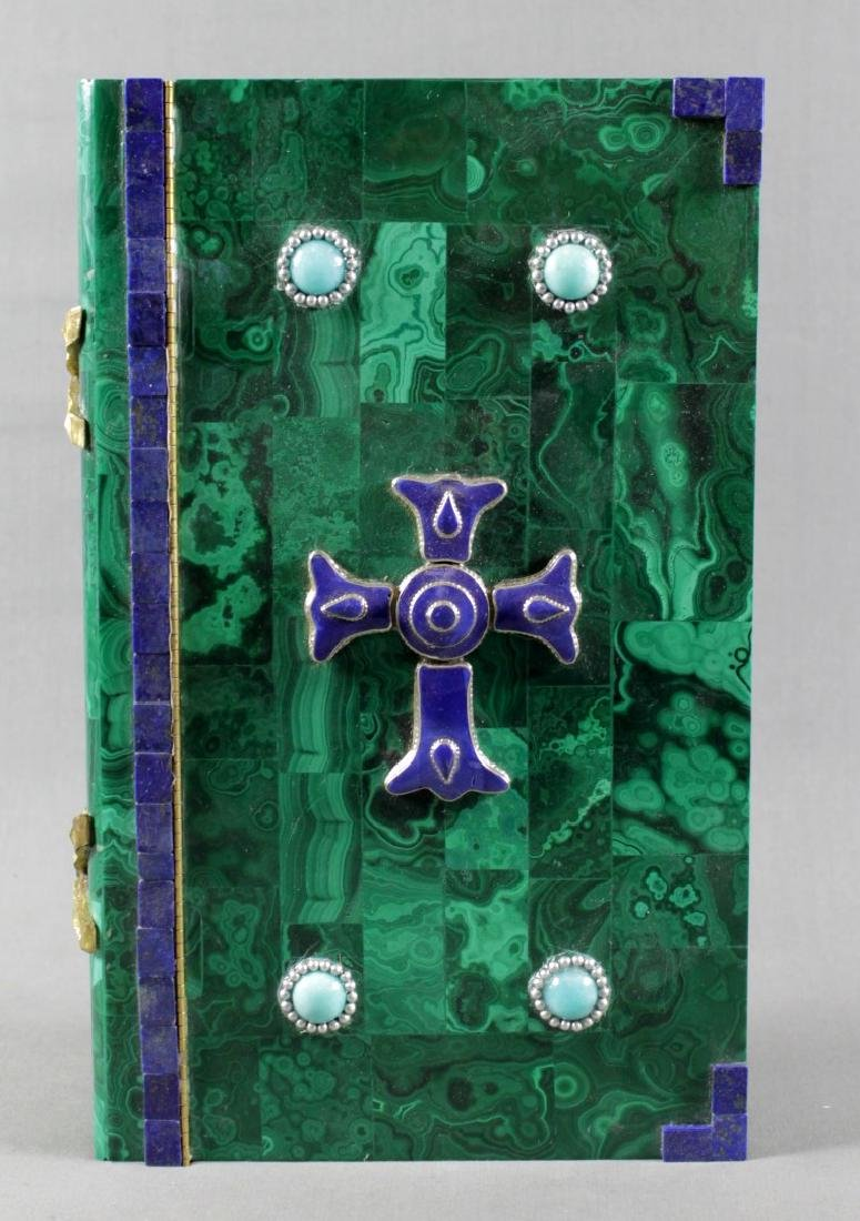 MAGNIFICENT RUSSIAN MALACHITE AND JEWELLED BOOK SHAPED - 2