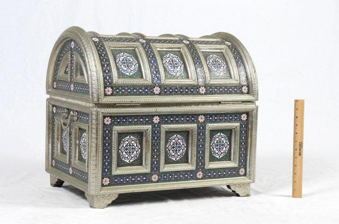 PERSIAN STYLE ENAMELED TRUNK - 4