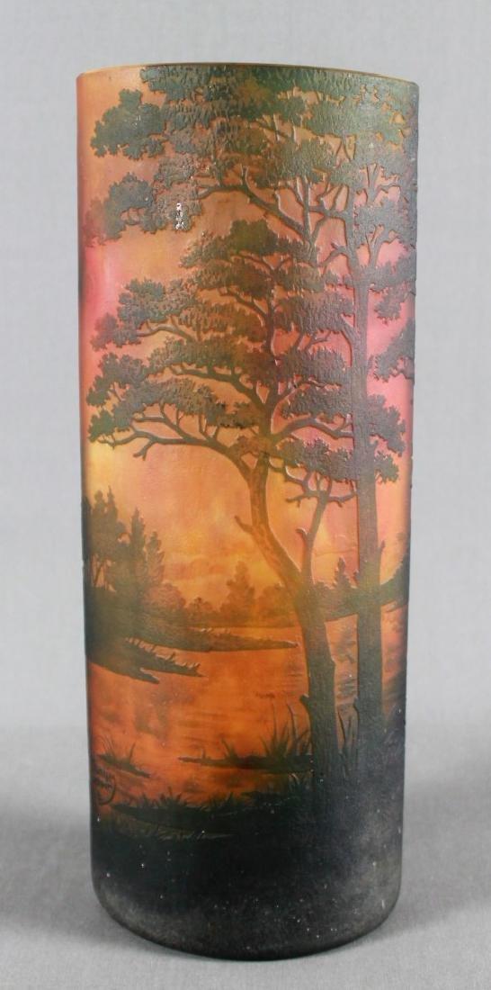 Large Daum Nancy Art Glass Tree Vase