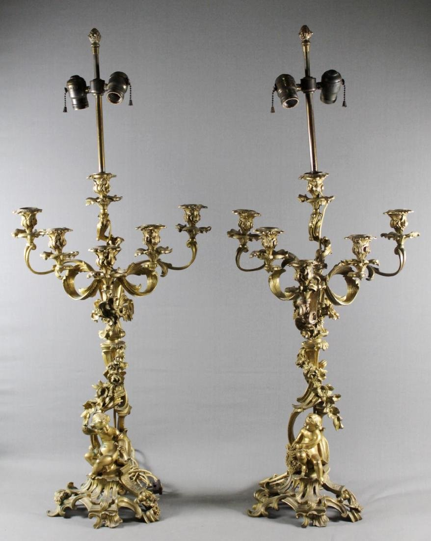PAIR OF ROCCOCO STYLE GILT BRONZE CANDELABRAS