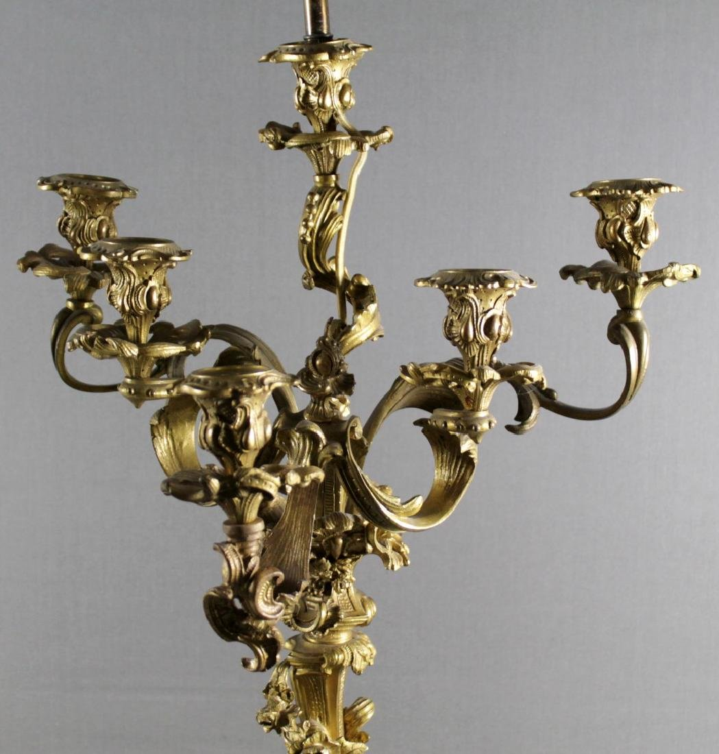 PAIR OF ROCCOCO STYLE GILT BRONZE CANDELABRAS - 3